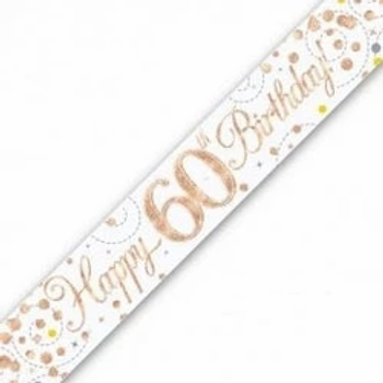 Happy 60th Birthday Rose Gold Party Banner