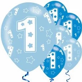 1st Birthday Latex Balloons Blue