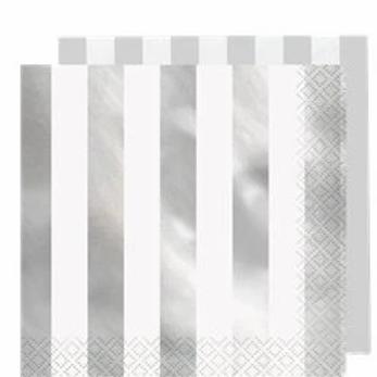 Metallic Silver Stripe Party Napkins