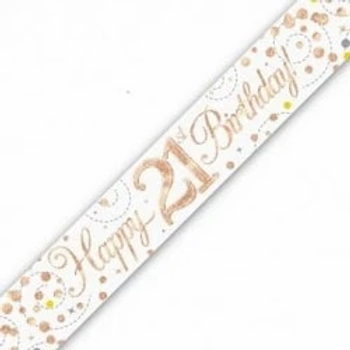 Happy 21st Birthday Rose Gold Party Banner