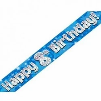 Happy 8th Birthday Party Banner Blue