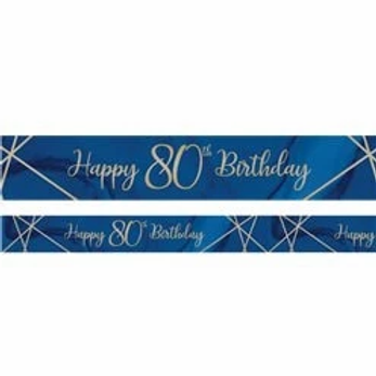 80th Happy Birthday Navy And Gold Banner