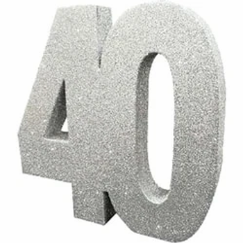40th Birthday Table Centrepiece Silver