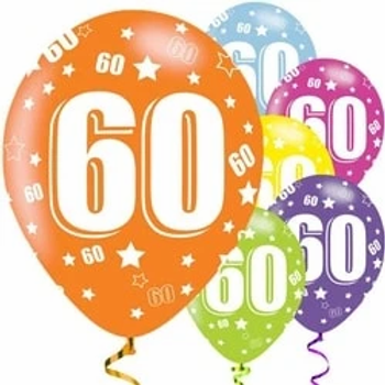 60th Birthday Assorted Latex Party Balloons