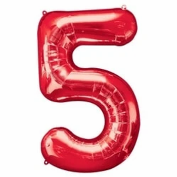 "Red 34"" Foil Number 5 Balloon"