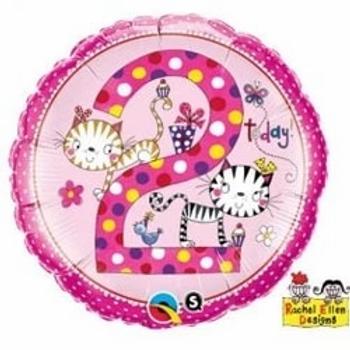 "Age 2 Kittens Polka Dots 18"" Foil Balloon"