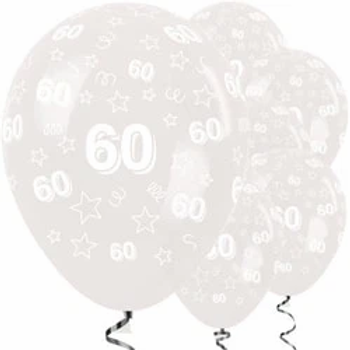 60th Clear Stars Latex Party Balloons
