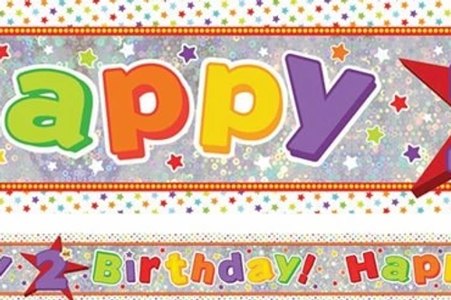 Holographic Happy 2nd Birthday Multi Coloured Banner