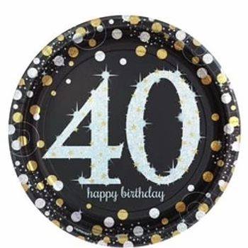 40th Birthday Gold Celebration Party Plates