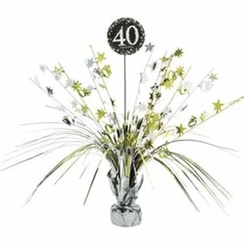 40th Birthday Party Foil Gold & Silver Table Spray Centrepiece