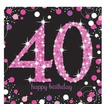 40th Birthday Pink Celebration Party Napkins