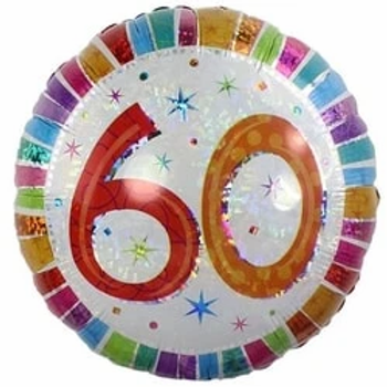 60th Radiant Round Foil Balloon