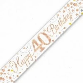Happy 40th Birthday Rose Gold Party Banner