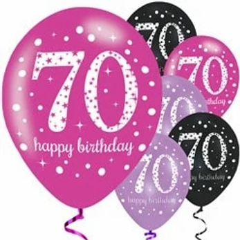 70th Birthday Party Balloons Pink Mix