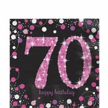 70th Birthday Party Napkins Pink