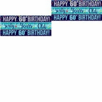 60th Birthday Assorted Blue Party Paper Banners