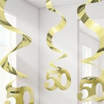 Gold 50th Hanging Party Swirls