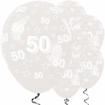 50th Birthday Diamond Clear Latex Balloons