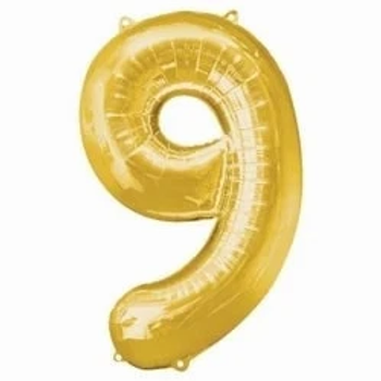"16"" Gold Foil Number 9 Balloon Gold"