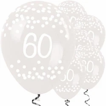 60th Clear Dots Latex Balloons
