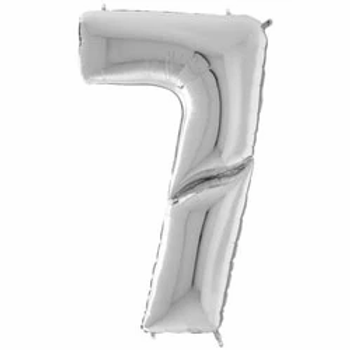 """64"""" Foil Number 7 Balloon Silver"""