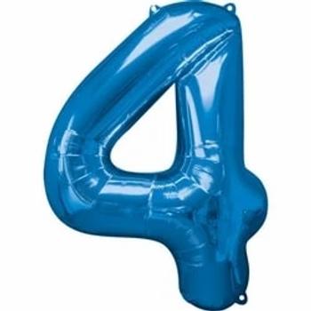 "34"" Foil Number 4 Balloon Blue"
