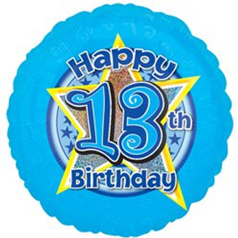 13th Birthday Stars Foil Balloon Blue