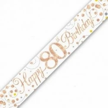 Happy 80th Birthday Rose Gold Party Banner