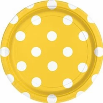 Yellow Polka Dot Paper Plates