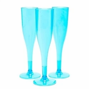 Turquoise Plastic Champagne Flutes