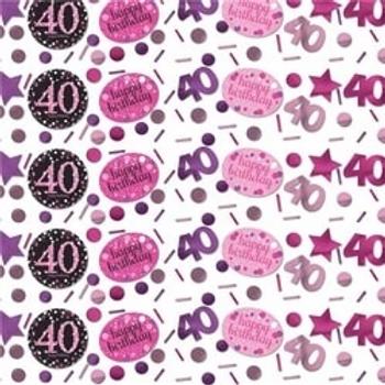 40th Birthday Pink Celebration Table Confetti