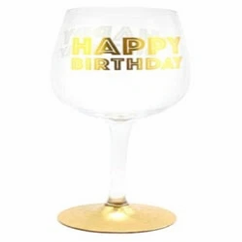 Happy Birthday Gold Celebration Wine Glasses