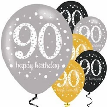 90th Birthday Party Balloons Gold Mix