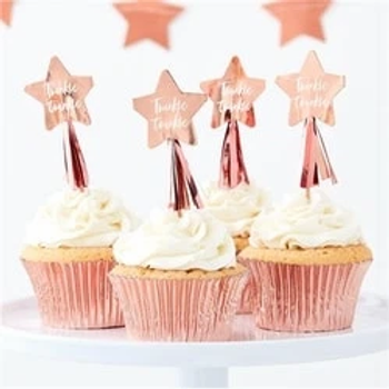Twinkle Twinkle Rose Gold Star Cupcake Toppers