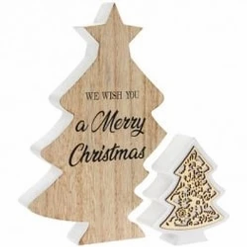 Double Tree Merry Christmas Plaque