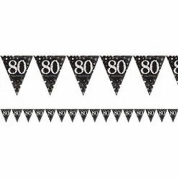 80th Prismatic Party Foil Bunting Gold & Silver