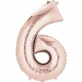 "34"" Foil Number 6 Balloon Rose Gold"