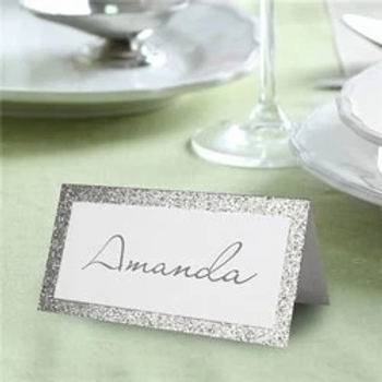 Silver Glitter Folded Table Place Cards