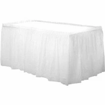 White Plastic Tableskirt