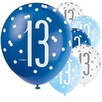 13th Birthday Mixed Blue Balloons