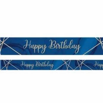 Happy Birthday Navy And Gold Birthday Banner