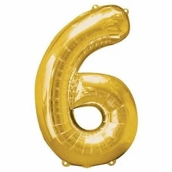 Gold Number 6 Air Fill Foil Balloons