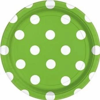 Lime Green Polka Dot Paper Plates