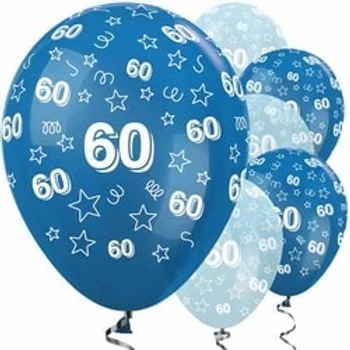 60th Blue Mixed Latex Party Balloons