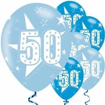 50th Blue Latex Balloons
