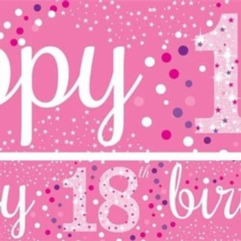 18th Happy Birthday Pink Paper Banners