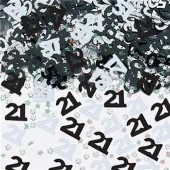 21st Black & Silver Table Confetti