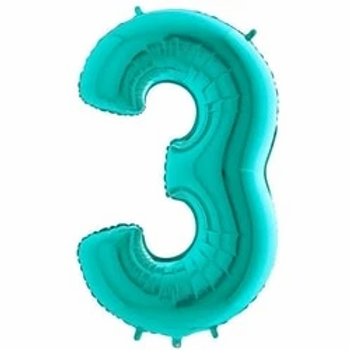 """Tiffany Blue 40"""" Foil Number 3 Balloon"""