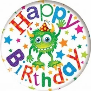 Happy Birthday Monsters Jumbo Badge