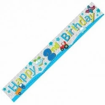 Happy 2nd Birthday Boys Party Banner